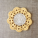 Crochet mug/teapot doily coaster in golden yellow, mother's day gift