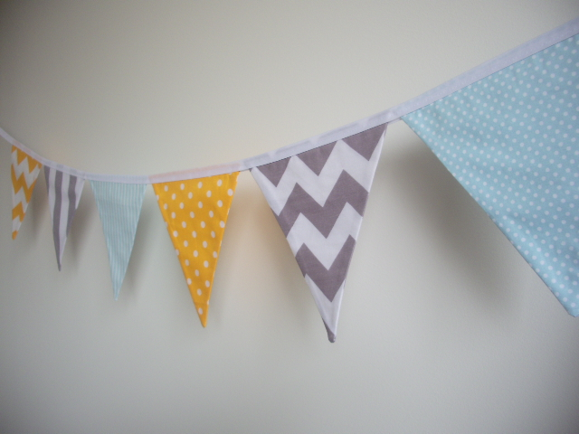 blue, yellow and grey, stripes, chevron, spots, fabric flag banner ...