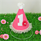Hot Pink Polka Dot Deluxe 1st Birthday Party Hat with Lace Trim & Flower