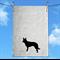 Handprinted Australian Kelpie Dog Silhouette Linen Tea Towel Free Aust Shipping