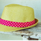 GIRLS STRAW FEDORA HAT - Pink & White Spot - LARGE