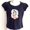 Hula Girl Vintage Print Navy Blue Girls T Shirt