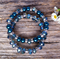 Peacock Blue Glass Pearl & Crystal Beads Bracelet Set