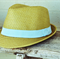BOYS STRAW FEDORA - Aqua Stripe - LARGE