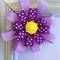 Purple Flower Loop RIbbon Bow Clip with yellow flower centre