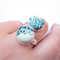 Ring - Double Kimono Button Teal and Turquoise