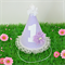 Lavender Polka Dot Deluxe 1st Birthday Party Hat with Lace Trim & Flower