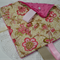 Pink Cream Vintage flowers Tag Blankie Security Comforter