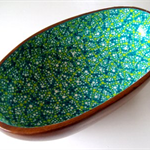 OOAK Handpainted Retro Wooden Bowl  -  Sea Breeze, Lime, Turquiose, White