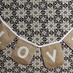 Love Bunting Burlap / Hessian banner for wedding, photo prop.