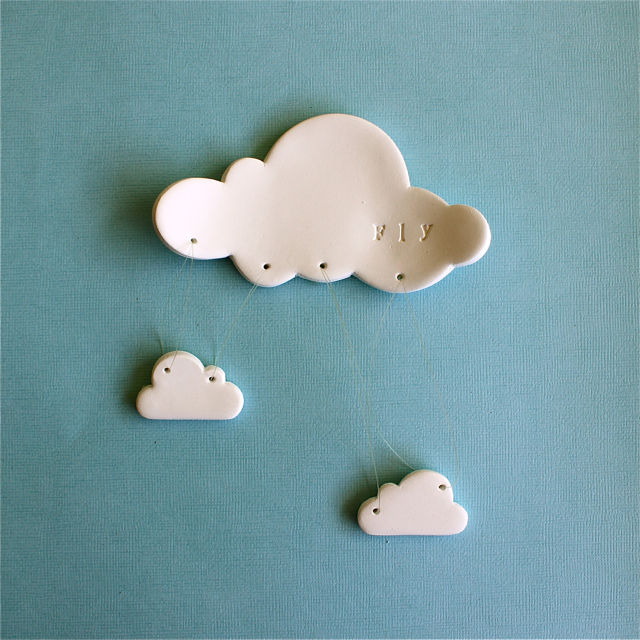 Wall Decor With Clay : Fly cloud white clay wall decor nursery child s