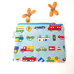 Reusable Zippered Snack Bag / Mini Wet Bag Pouch - Working Cars (Dusty Blue)