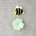 Set of 2, bee hair clip and blossom in colour of your choice, yellow, flower