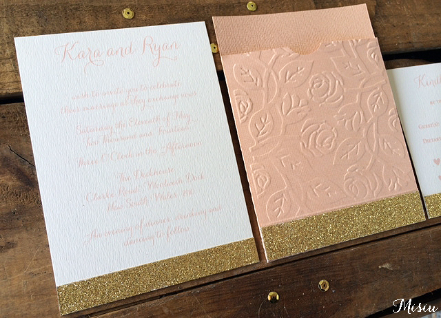 Modern Romance Peach And Gold Wedding Invitation