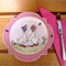 Hand painted small plate for a little girl with ducks, butterfly, bug and snail