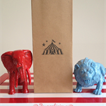 12 x Circus Lolly Bags - Brown Kraft Bags Hand Stamped with Circus Tent, Big Top