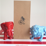 12 x Circus Lolly / Candy Bags - Brown Kraft Bags Hand Stamped with Elephant