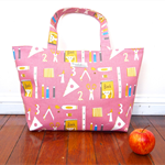 Lesson Tote Bag / Purse / Handbag - School Supplies (Pink)