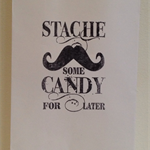 20 x White Paper Lolly Bags - Hand Stamped 'Stache Some Candy for Later'