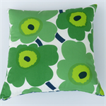 Unikko Marimekko Cotton Cushion Cover in Green, French Navy, Lime and White