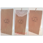 20 x BROWN Hand Stamped 'Love is Sweet' Lolly Bags, Candy Bags, Favour bags,