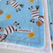 Dancing Zebra Flannel Baby Blanket - Soft Blue and White