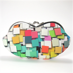 Eyeglasses case purse - Squares/geometric/smartphone case/wallet/ colorful