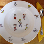 Hand painted wedgwood bowl with stick people and animals