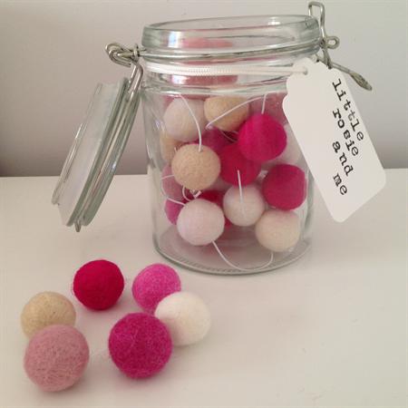 Felt Ball Garland in White, Sand, Light Pink, Pink, Berry, Hot Pink