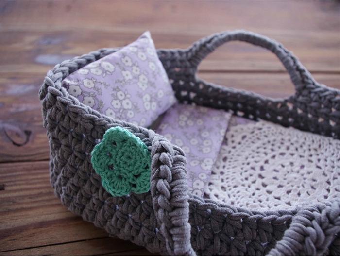 Handmade Moses Basket Bedding : Recycled dolls crochet bed t shirt yarn grey oh