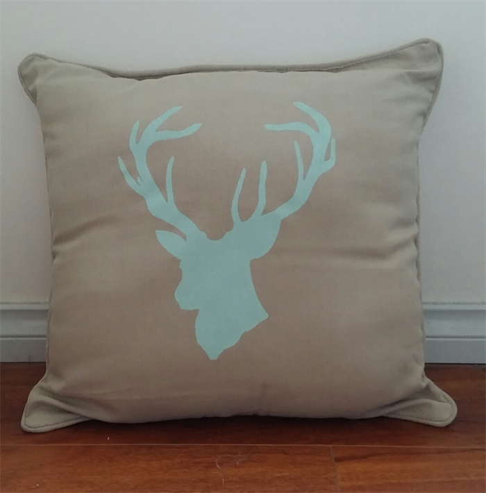 Cotton Throw Pillow Inserts : Mint Deer silhouette linen cotton cushion throw pillow & insert house decor gift Rose and ...