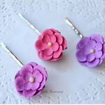 Set of 3 Beautiful Paper Flowers Hair Pins - Hot Pink, Plum and Purple