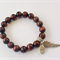 Red Tiger Eye Bracelet with Silver Angel Wing