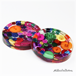 Multi Coloured Bright Buttons Drink coasters or paperweights - 2 pack - Resin