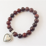 Poppy Jasper Bracelet with Silver Heart