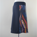 Size S Aline skirt, two tone, black peacock feather, black back, Wanderlust