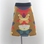 SIZE L Aline skirt, two tone, mustard butterflies, black back, Wanderlust
