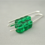 Emerald Green Cube Czech Glass Sterling Silver Earrings