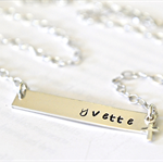 Religious Cross Necklace Name Bar Nina Style Hand Stamped Personalised Jewellery
