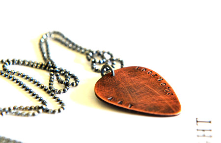 Mens Guitar Pick Necklace Rustic Mens Jewellery Hand Stamped Personalised Copper