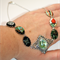 Vintage mixed glass inlaid butterfly harlequin Scrolled silver modern necklace