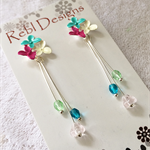 Hand Coloured Flower Studs in Turquoise green White and pink