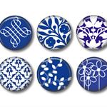 Magnet set - 6 China blue magnets