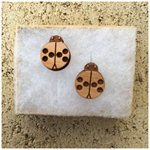 Laser Cut Wooden Ladybug Earrings