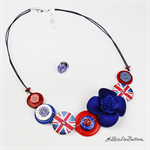 Button Fusion - British Flower Button Necklace - Button Jewellery - Earrings