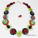 Cute Ladybug - Ceramic - Green Black Red Buttons Necklace - Jewellery - Earrings