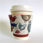 Coffee Cuff/ Cosy - Red birds, blue birds