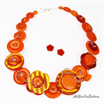Bold Gold Orange - Chunky free-formed wired Button Necklace - Jewellery Earrings