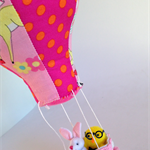 hot air balloon kids room decoration or imaginative play with bunny, hang up toy