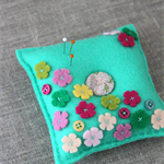 field of wild blossoms felt pincushion in sage green, pink, green, Mother's day